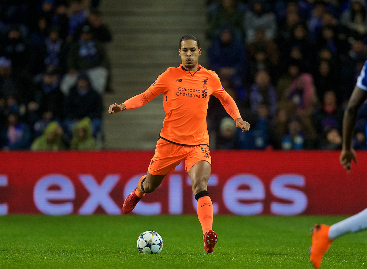 PORTO, PORTUGAL - Wednesday, February 14, 2018: Liverpool's Virgil van Dijk during the UEFA Champions League Round of 16 1st leg match between FC Porto and Liverpool FC on Valentine's Day at the Estádio do Dragão. (Pic by David Rawcliffe/Propaganda)