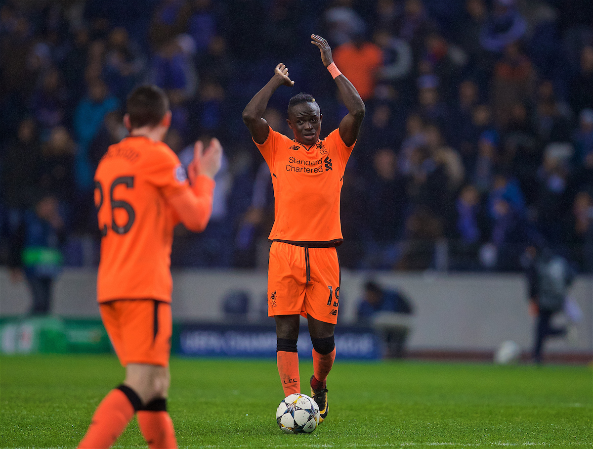 PORTO, PORTUGAL - Wednesday, February 14, 2018: Liverpool's hat-trick hero Sadio Mane celebrates after the 5-0 victory over FC Porto during the UEFA Champions League Round of 16 1st leg match between FC Porto and Liverpool FC on Valentine's Day at the Estádio do Dragão. (Pic by David Rawcliffe/Propaganda)