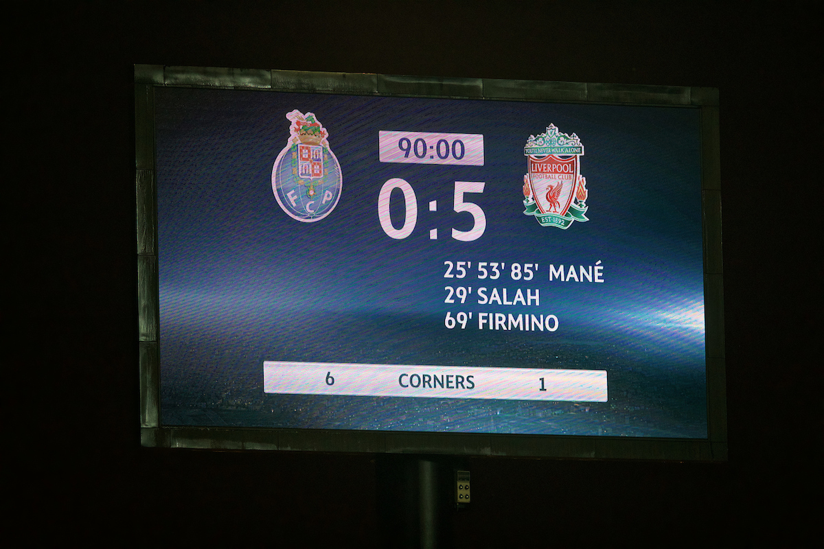 PORTO, PORTUGAL - Wednesday, February 14, 2018: The scoreboard records Liverpool's 5-0 victory over FC Porto during the UEFA Champions League Round of 16 1st leg match between FC Porto and Liverpool FC on Valentine's Day at the Estádio do Dragão. (Pic by David Rawcliffe/Propaganda)