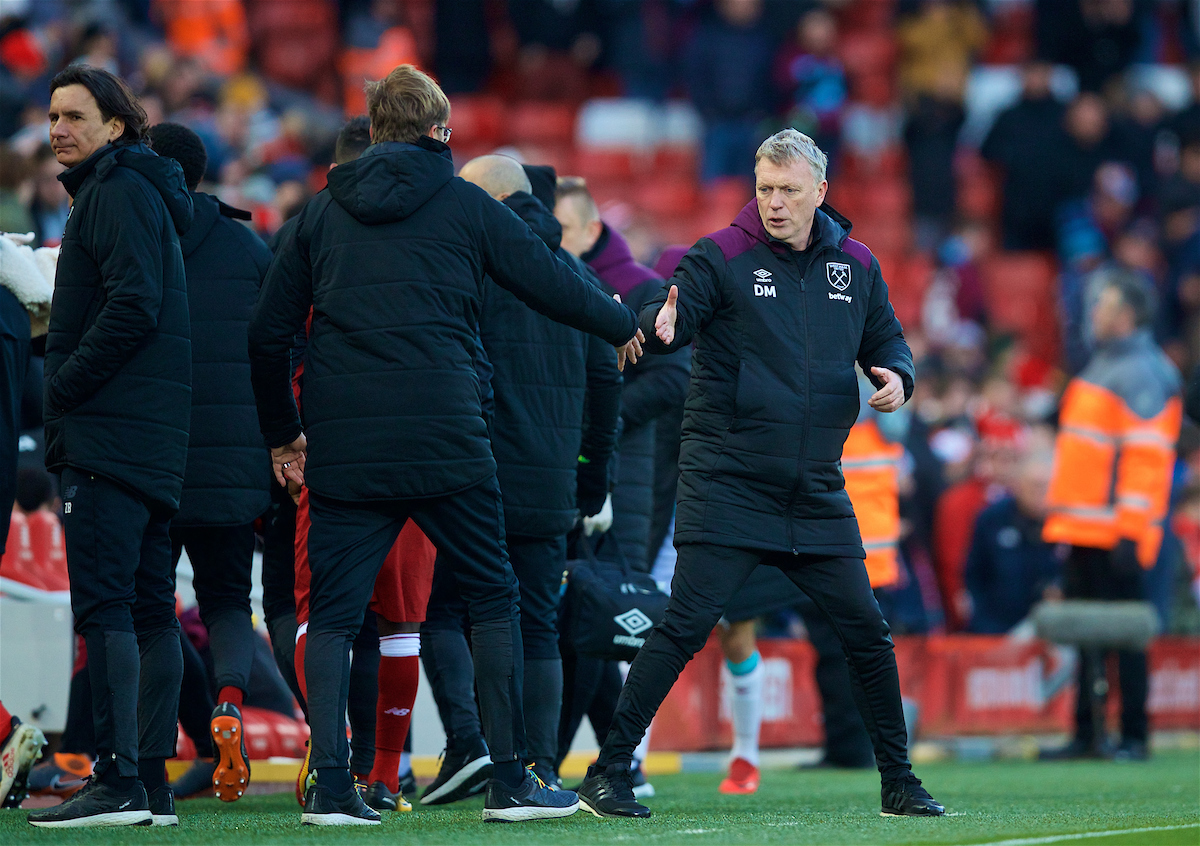 LIVERPOOL, ENGLAND - Saturday, February 24, 2018: West Ham United's manager David Moyes shakes hands with Liverpool's manager Jürgen Klopp after the FA Premier League match between Liverpool FC and West Ham United FC at Anfield. (Pic by David Rawcliffe/Propaganda)