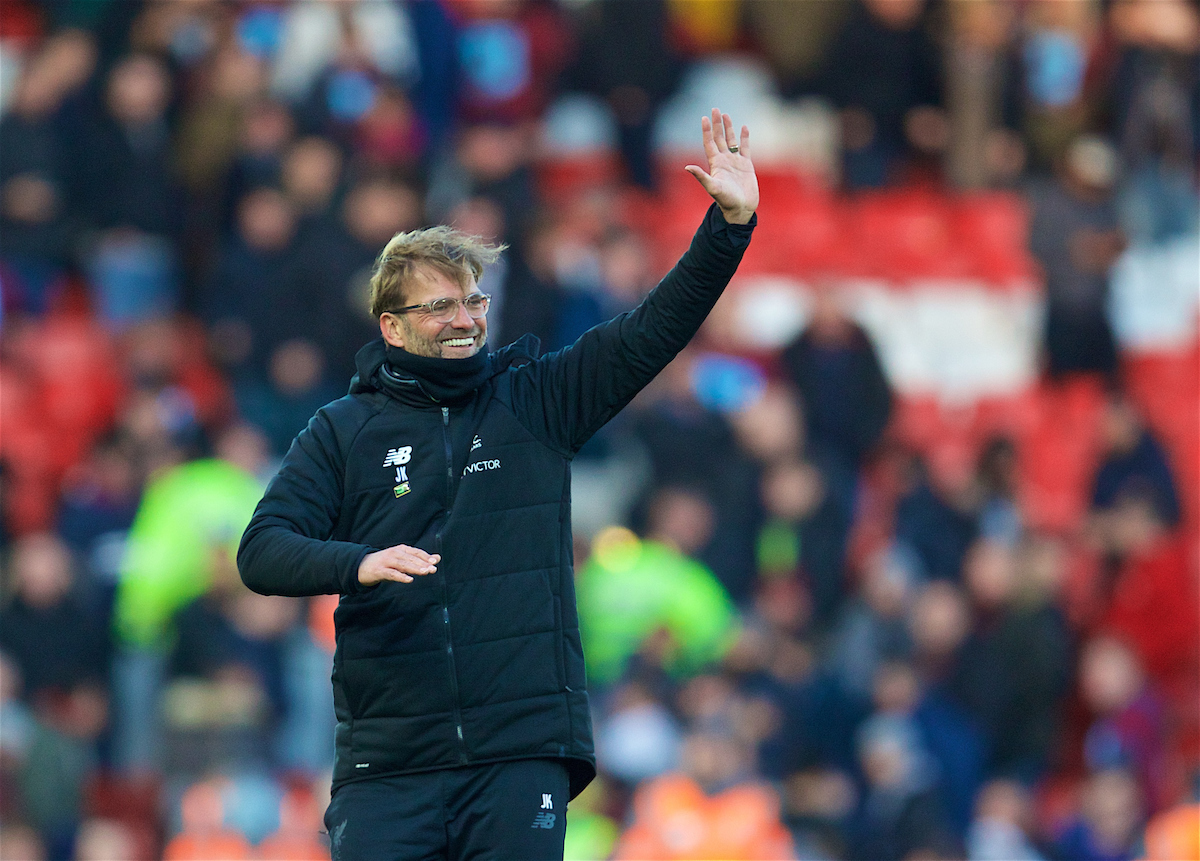LIVERPOOL, ENGLAND - Saturday, February 24, 2018: Liverpool's manager Jürgen Klopp celebrates the 4-1 victory over West Ham United during the FA Premier League match between Liverpool FC and West Ham United FC at Anfield. (Pic by David Rawcliffe/Propaganda)