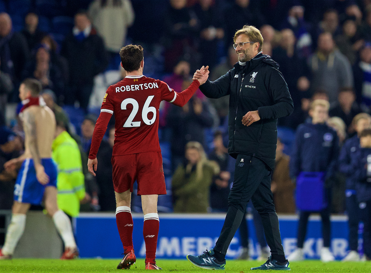 BRIGHTON AND HOVE, ENGLAND - Saturday, December 2, 2017: Liverpool's manager Jürgen Klopp celebrates the 5-1 victory over Brighton & Hove Albion with Andy Robertson during the FA Premier League match between Brighton & Hove Albion FC and Liverpool FC at the American Express Community Stadium. (Pic by David Rawcliffe/Propaganda)