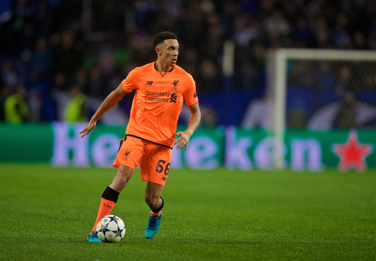 PORTO, PORTUGAL - Wednesday, February 14, 2018: Liverpool's Trent Alexander-Arnold during the UEFA Champions League Round of 16 1st leg match between FC Porto and Liverpool FC on Valentine's Day at the Estádio do Dragão. (Pic by David Rawcliffe/Propaganda)