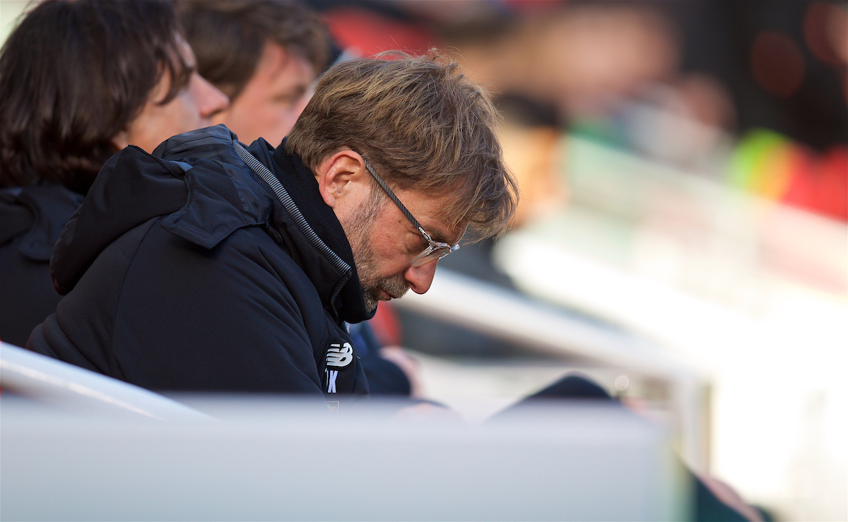 LIVERPOOL, ENGLAND - Saturday, February 24, 2018: Liverpool's manager Jürgen Klopp before the FA Premier League match between Liverpool FC and West Ham United FC at Anfield. (Pic by David Rawcliffe/Propaganda)