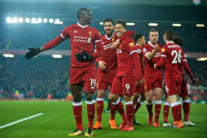 LIVERPOOL, ENGLAND - Saturday, March 3, 2018: Liverpool's Sadio Mane celebrates scoring the second goal with team-mates during the FA Premier League match between Liverpool FC and Newcastle United FC at Anfield. (Pic by Peter Powell/Propaganda)