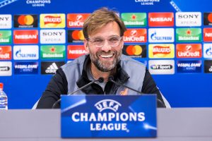LIVERPOOL, ENGLAND - Monday, March 5, 2018: Liverpool's manager Jürgen Klopp during a pre-match press conference at Anfield ahead of the UEFA Champions League Round of 16 2nd leg match between Liverpool FC and FC Porto. (Pic by Paul Greenwood/Propaganda)