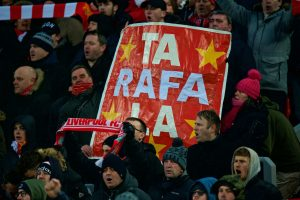 "LIVERPOOL, ENGLAND - Saturday, March 3, 2018: Liverpool's supporters' banner ""Ta Rafa La"" thanking former boss Rafael Benitez before the FA Premier League match between Liverpool FC and Newcastle United FC at Anfield. (Pic by Peter Powell/Propaganda)"