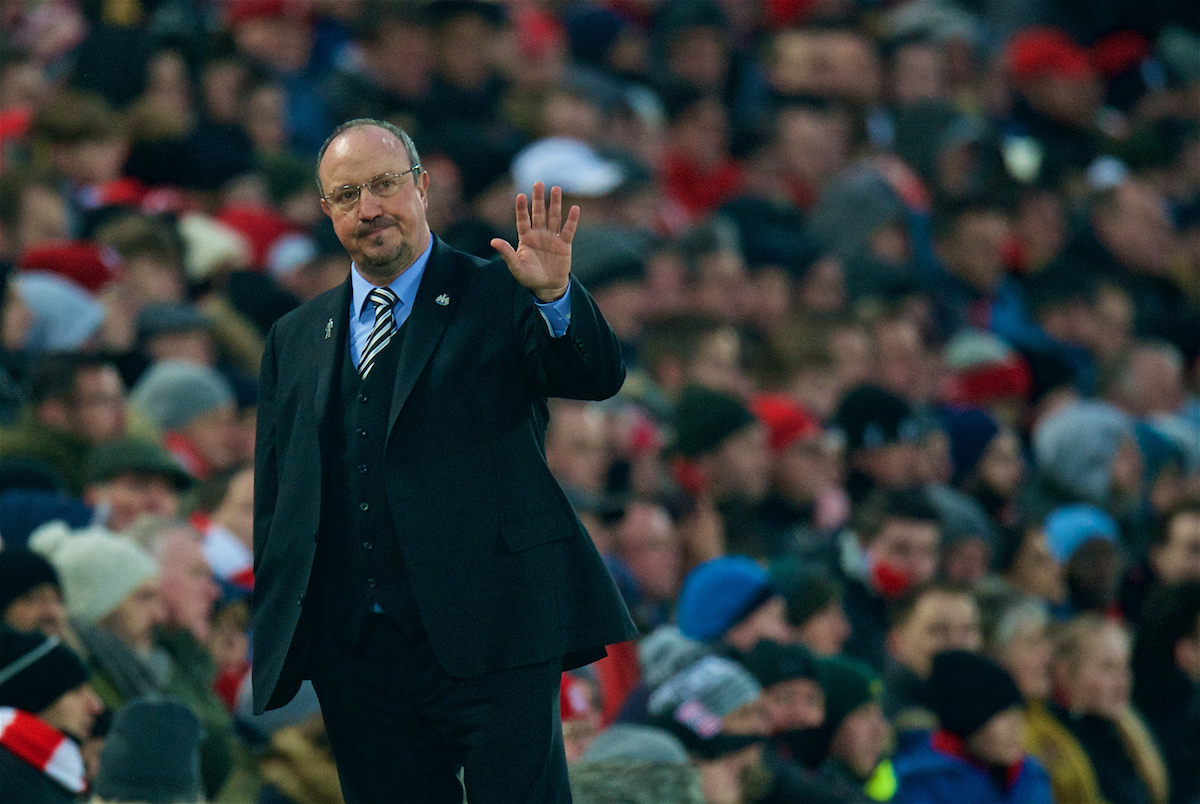 LIVERPOOL, ENGLAND - Saturday, March 3, 2018: Newcastle United's manager Rafael Benitez waves to the Liverpool supporters during the FA Premier League match between Liverpool FC and Newcastle United FC at Anfield. (Pic by Peter Powell/Propaganda)
