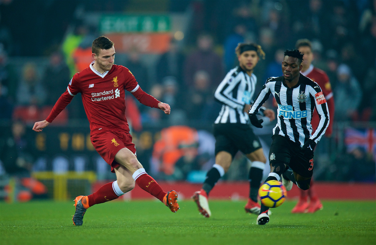 LIVERPOOL, ENGLAND - Saturday, March 3, 2018: Liverpool's Andy Robertson during the FA Premier League match between Liverpool FC and Newcastle United FC at Anfield. (Pic by Peter Powell/Propaganda)