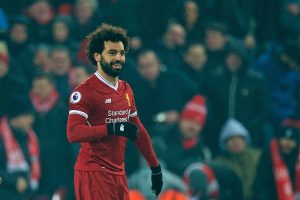 LIVERPOOL, ENGLAND - Saturday, March 3, 2018: Liverpool's Mohamed Salah celebrates scoring the first goal during the FA Premier League match between Liverpool FC and Newcastle United FC at Anfield. (Pic by Peter Powell/Propaganda)