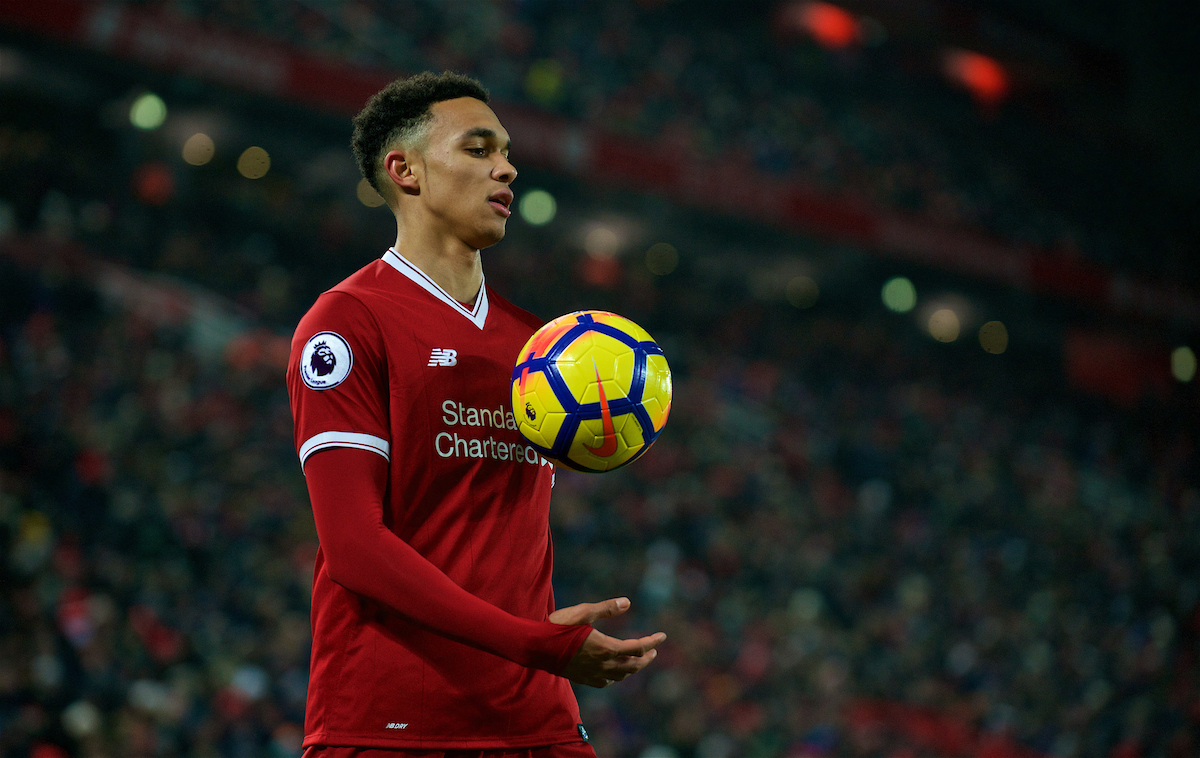 LIVERPOOL, ENGLAND - Saturday, March 3, 2018: Liverpool's Trent Alexander-Arnold during the FA Premier League match between Liverpool FC and Newcastle United FC at Anfield. (Pic by Peter Powell/Propaganda)