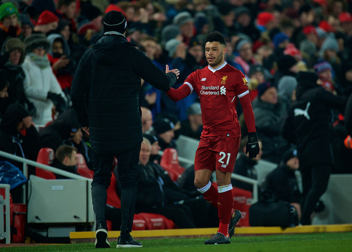 LIVERPOOL, ENGLAND - Saturday, March 3, 2018: Liverpool's Alex Oxlade-Chamberlain is substituted during the FA Premier League match between Liverpool FC and Newcastle United FC at Anfield. (Pic by Peter Powell/Propaganda)
