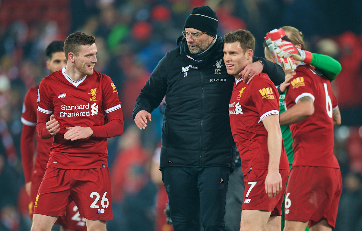LIVERPOOL, ENGLAND - Saturday, March 3, 2018: Liverpool's manager Jürgen Klopp hugs James Milner and Andy Robertson during the FA Premier League match between Liverpool FC and Newcastle United FC at Anfield. (Pic by Peter Powell/Propaganda)