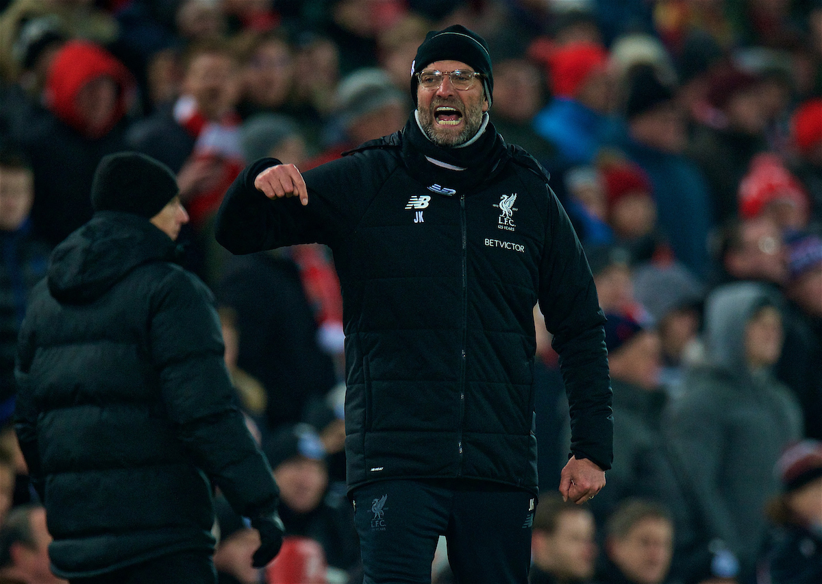 LIVERPOOL, ENGLAND - Saturday, March 3, 2018: Liverpool's manager Jürgen Klopp reacts during the FA Premier League match between Liverpool FC and Newcastle United FC at Anfield. (Pic by Peter Powell/Propaganda)