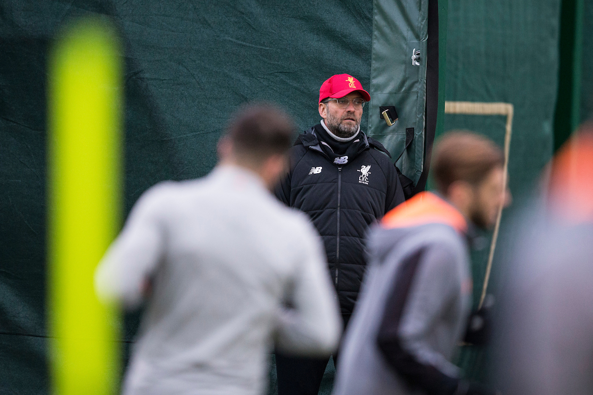 LIVERPOOL, ENGLAND - Monday, March 5, 2018: Liverpool's manager Jürgen Klopp during a training session at Melwoood ahead of the UEFA Champions League Round of 16 2nd leg match between Liverpool FC and FC Porto. (Pic by Paul Greenwood/Propaganda)