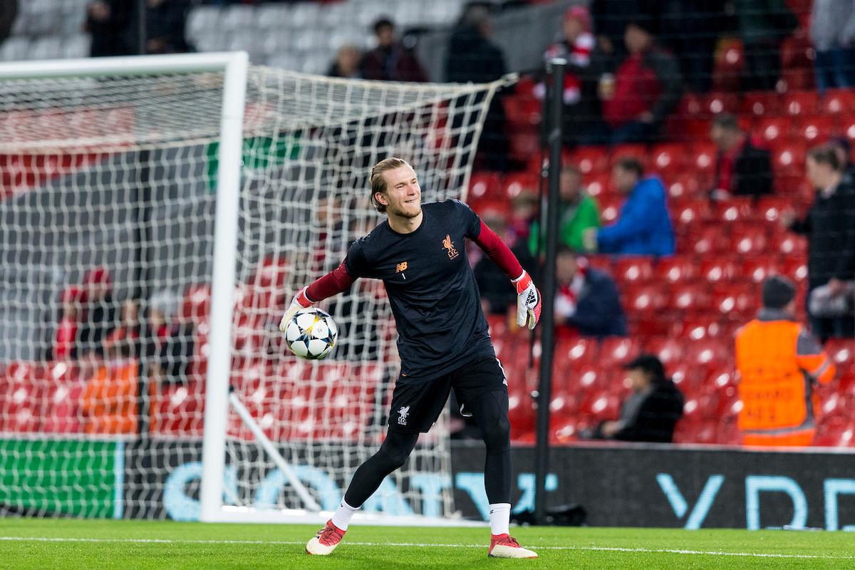 LIVERPOOL, ENGLAND - Monday, March 5, 2018: Liverpool's goalkeeper Loris Karius during the pre-match warm-up before the UEFA Champions League Round of 16 2nd leg match between Liverpool FC and FC Porto at Anfield. (Pic by Paul Greenwood/Propaganda)
