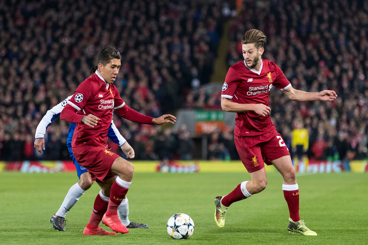 LIVERPOOL, ENGLAND - Monday, March 5, 2018: Liverpool's Roberto Firmino and Adam Lallana during the UEFA Champions League Round of 16 2nd leg match between Liverpool FC and FC Porto at Anfield. (Pic by Paul Greenwood/Propaganda)