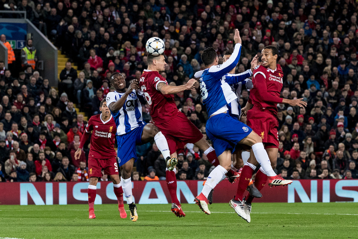 LIVERPOOL, ENGLAND - Monday, March 5, 2018: Liverpool's Joel Matip heads at goal during the UEFA Champions League Round of 16 2nd leg match between Liverpool FC and FC Porto at Anfield. (Pic by Paul Greenwood/Propaganda)