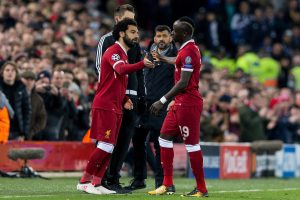 LIVERPOOL, ENGLAND - Monday, March 5, 2018: Liverpool's Sadio Mané is substituted for Mohamed Salah during the UEFA Champions League Round of 16 2nd leg match between Liverpool FC and FC Porto at Anfield. (Pic by Paul Greenwood/Propaganda)