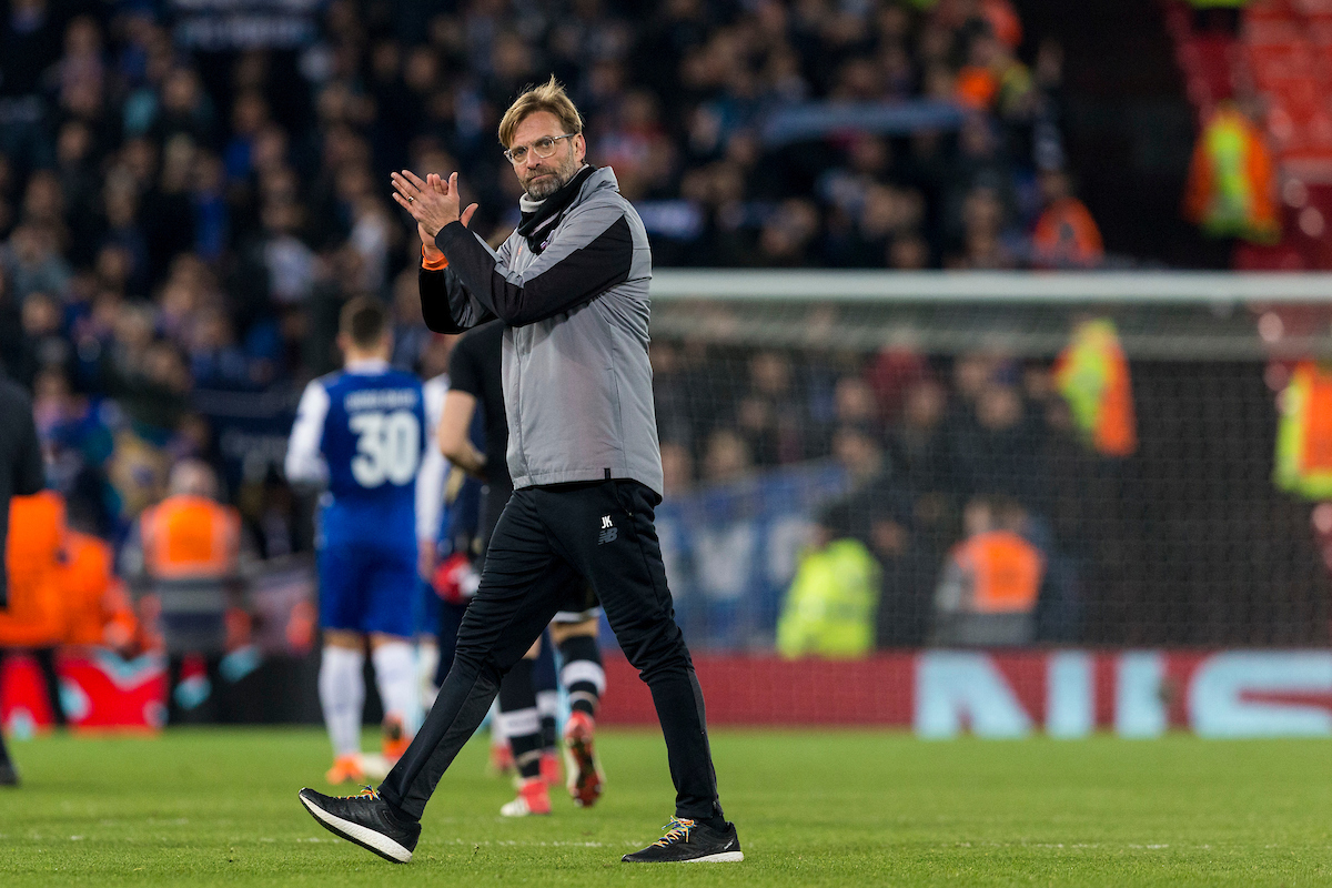 LIVERPOOL, ENGLAND - Monday, March 5, 2018: Liverpool's manager Jürgen Klopp applauds supporters following the UEFA Champions League Round of 16 2nd leg match between Liverpool FC and FC Porto at Anfield. (Pic by Paul Greenwood/Propaganda)