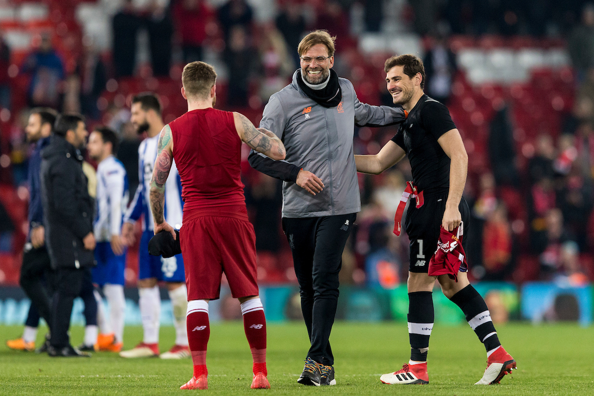LIVERPOOL, ENGLAND - Monday, March 5, 2018: Liverpool's manager Jürgen Klopp with Alberto Moreno FC Porto's goalkeeper Iker Casillas after the UEFA Champions League Round of 16 2nd leg match between Liverpool FC and FC Porto at Anfield. (Pic by Paul Greenwood/Propaganda)
