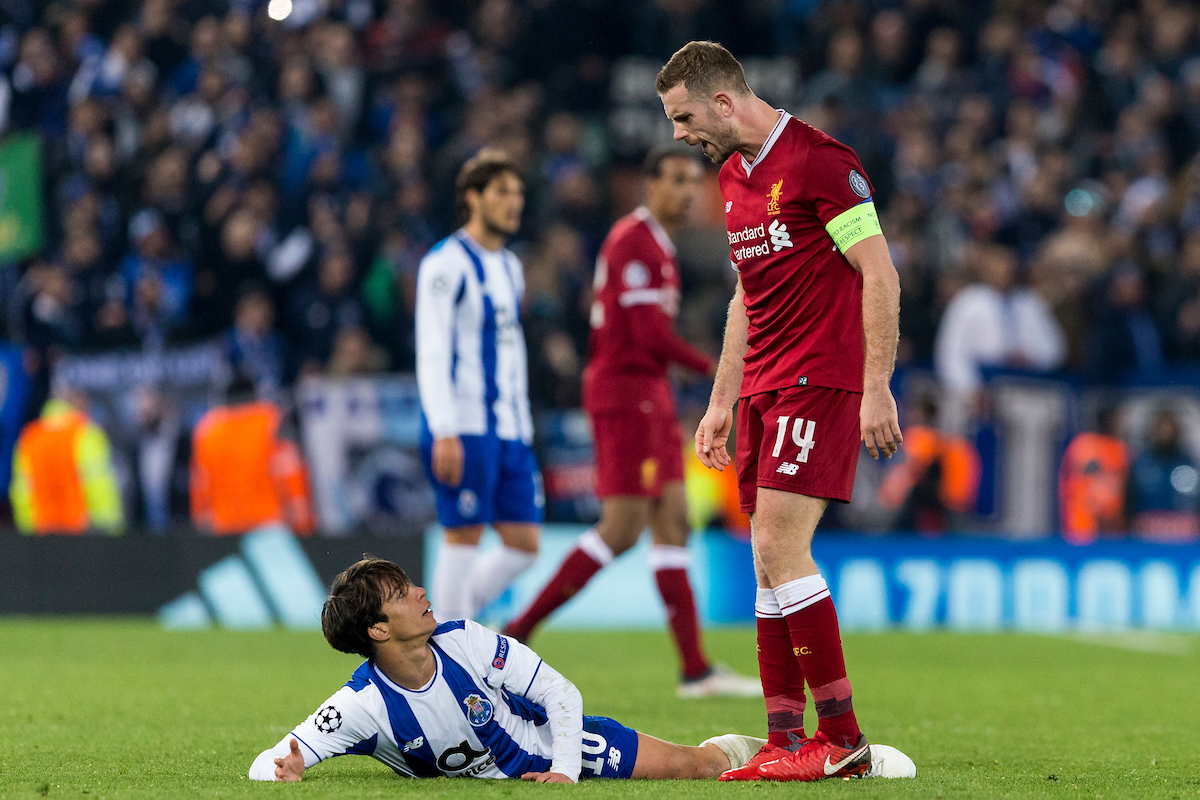 LIVERPOOL, ENGLAND - Monday, March 5, 2018: Liverpool's captain Jordan Henderson and FC Porto's Óliver Torres during the UEFA Champions League Round of 16 2nd leg match between Liverpool FC and FC Porto at Anfield. (Pic by Paul Greenwood/Propaganda)