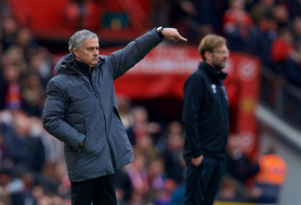 MANCHESTER, ENGLAND - Saturday, March 10, 2018: Manchester United's manager Jose Mourinho during the FA Premier League match between Manchester United FC and Liverpool FC at Old Trafford. (Pic by David Rawcliffe/Propaganda)