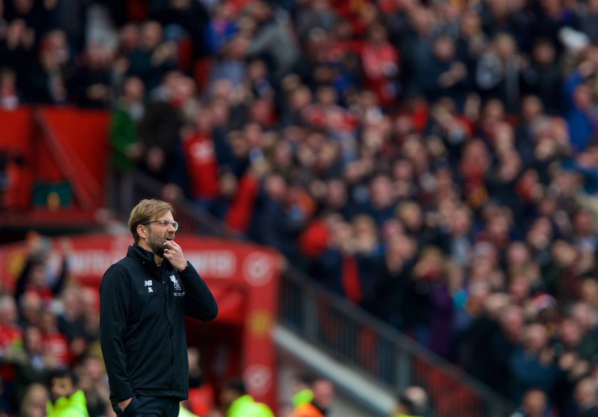 MANCHESTER, ENGLAND - Saturday, March 10, 2018: Liverpool's manager Jürgen Klopp reacts as Manchester United score the opening goal during the FA Premier League match between Manchester United FC and Liverpool FC at Old Trafford. (Pic by David Rawcliffe/Propaganda)