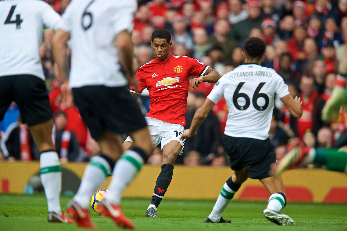 MANCHESTER, ENGLAND - Saturday, March 10, 2018: Manchester United's Marcus Rashford scores the second goal during the FA Premier League match between Manchester United FC and Liverpool FC at Old Trafford. (Pic by David Rawcliffe/Propaganda)