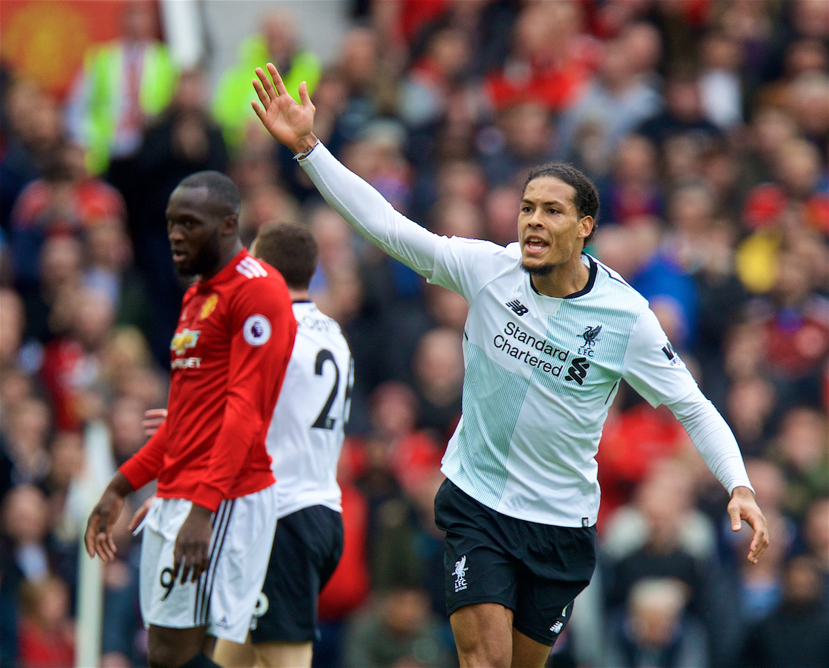 MANCHESTER, ENGLAND - Saturday, March 10, 2018: Liverpool's Virgil van Dijk during the FA Premier League match between Manchester United FC and Liverpool FC at Old Trafford. (Pic by David Rawcliffe/Propaganda)