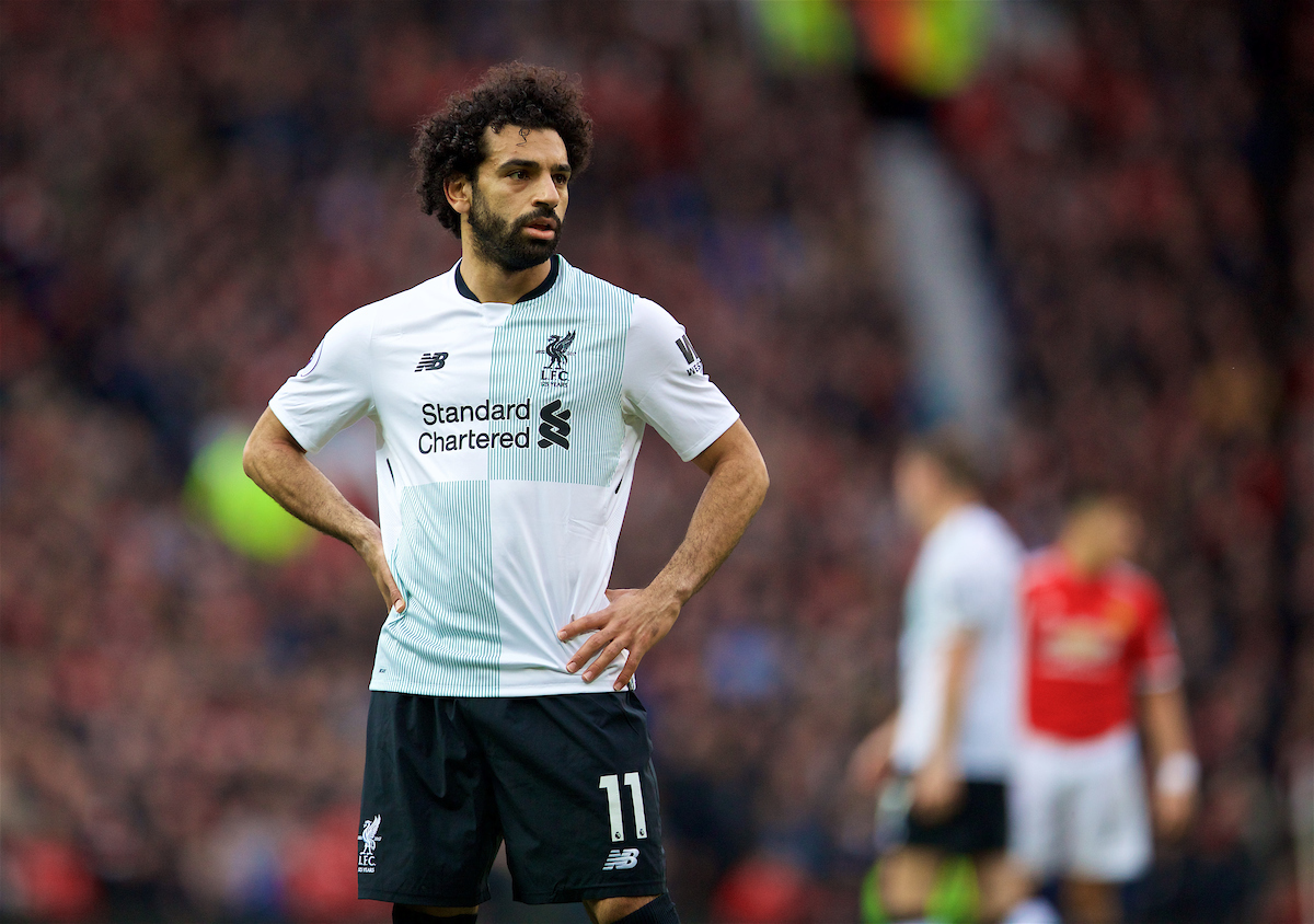 MANCHESTER, ENGLAND - Saturday, March 10, 2018: Liverpool's Mohamed Salah during the FA Premier League match between Manchester United FC and Liverpool FC at Old Trafford. (Pic by David Rawcliffe/Propaganda)