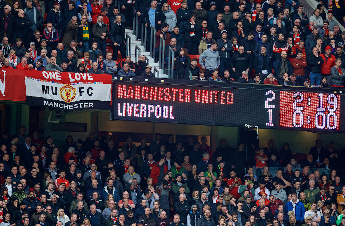MANCHESTER, ENGLAND - Saturday, March 10, 2018: The scoreboard records Manchester United's 2-1 victory during the FA Premier League match between Manchester United FC and Liverpool FC at Old Trafford. (Pic by David Rawcliffe/Propaganda)