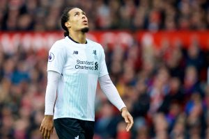 MANCHESTER, ENGLAND - Saturday, March 10, 2018: Liverpool's Virgil van Dijk looks dejected during the FA Premier League match between Manchester United FC and Liverpool FC at Old Trafford. (Pic by David Rawcliffe/Propaganda)