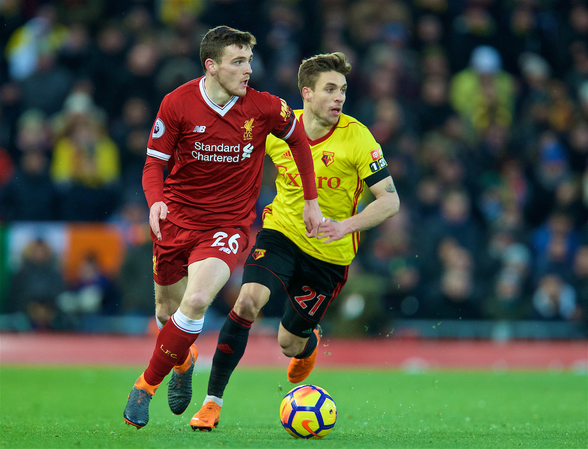 LIVERPOOL, ENGLAND - Saturday, March 17, 2018: Liverpool's Andy Robertson during the FA Premier League match between Liverpool FC and Watford FC at Anfield. (Pic by David Rawcliffe/Propaganda)