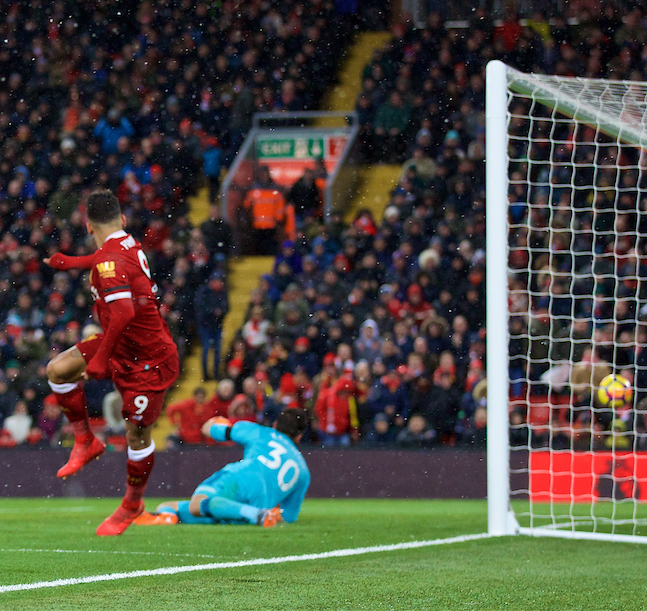 LIVERPOOL, ENGLAND - Saturday, March 17, 2018: Liverpool's Roberto Firmino scores the third goal during the FA Premier League match between Liverpool FC and Watford FC at Anfield. (Pic by David Rawcliffe/Propaganda)