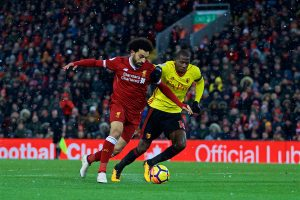 LIVERPOOL, ENGLAND - Saturday, March 17, 2018: Liverpool's Mohamed Salah on his way to completing his hat-trick scoring the fourth goal during the FA Premier League match between Liverpool FC and Watford FC at Anfield. (Pic by David Rawcliffe/Propaganda)