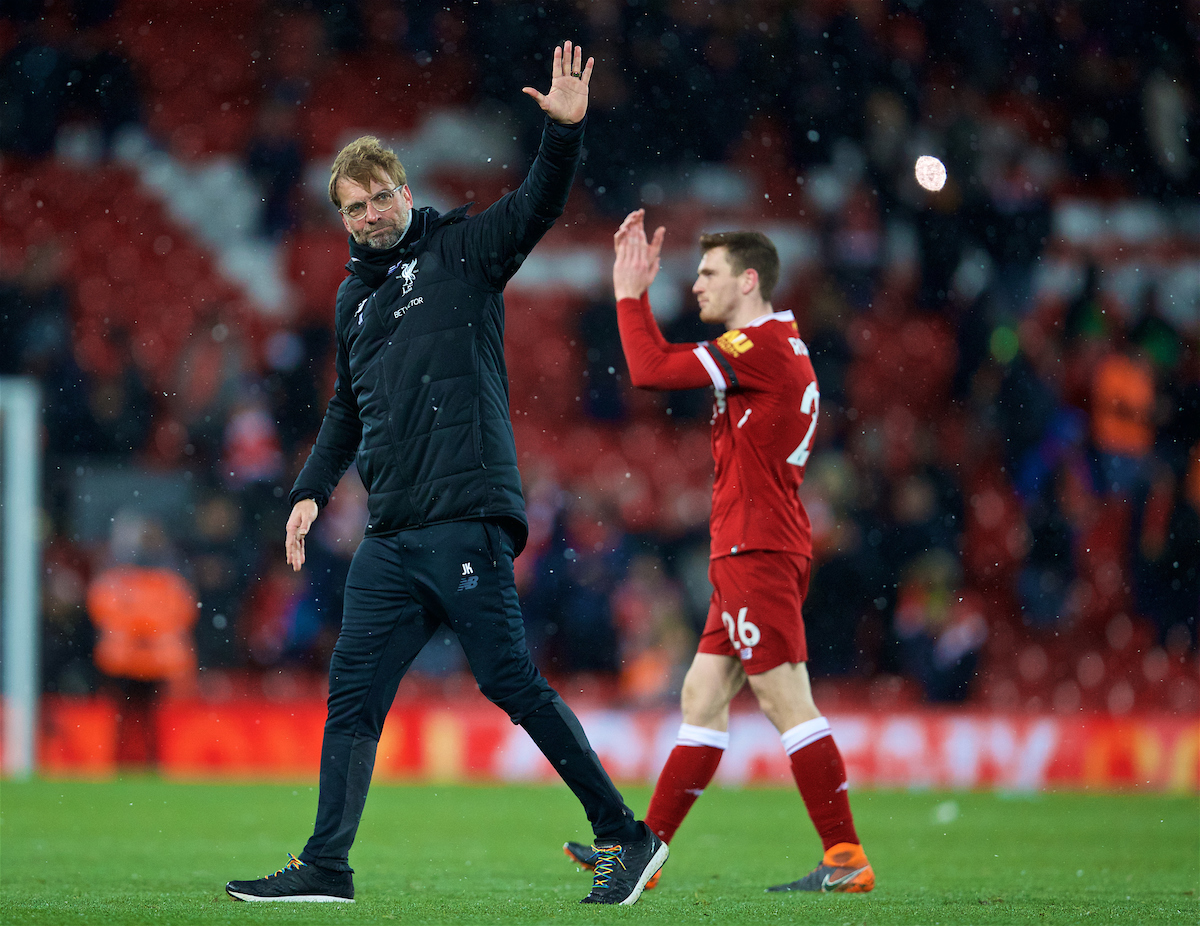 LIVERPOOL, ENGLAND - Saturday, March 17, 2018: Liverpool's manager Jürgen Klopp waves to the Kop as he celebrates a 5-star five goal victory iover Watford during the FA Premier League match between Liverpool FC and Watford FC at Anfield. (Pic by David Rawcliffe/Propaganda)