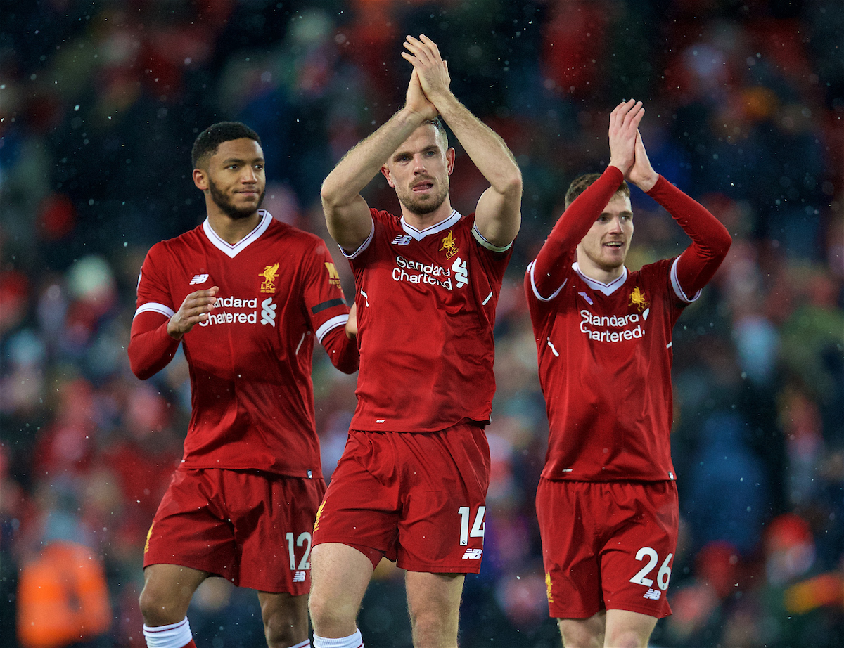 LIVERPOOL, ENGLAND - Saturday, March 17, 2018: Liverpool's Joe Gomez, captain Jordan Henderson and Andy Robertson after the 5-0 victory during the FA Premier League match between Liverpool FC and Watford FC at Anfield. (Pic by David Rawcliffe/Propaganda)