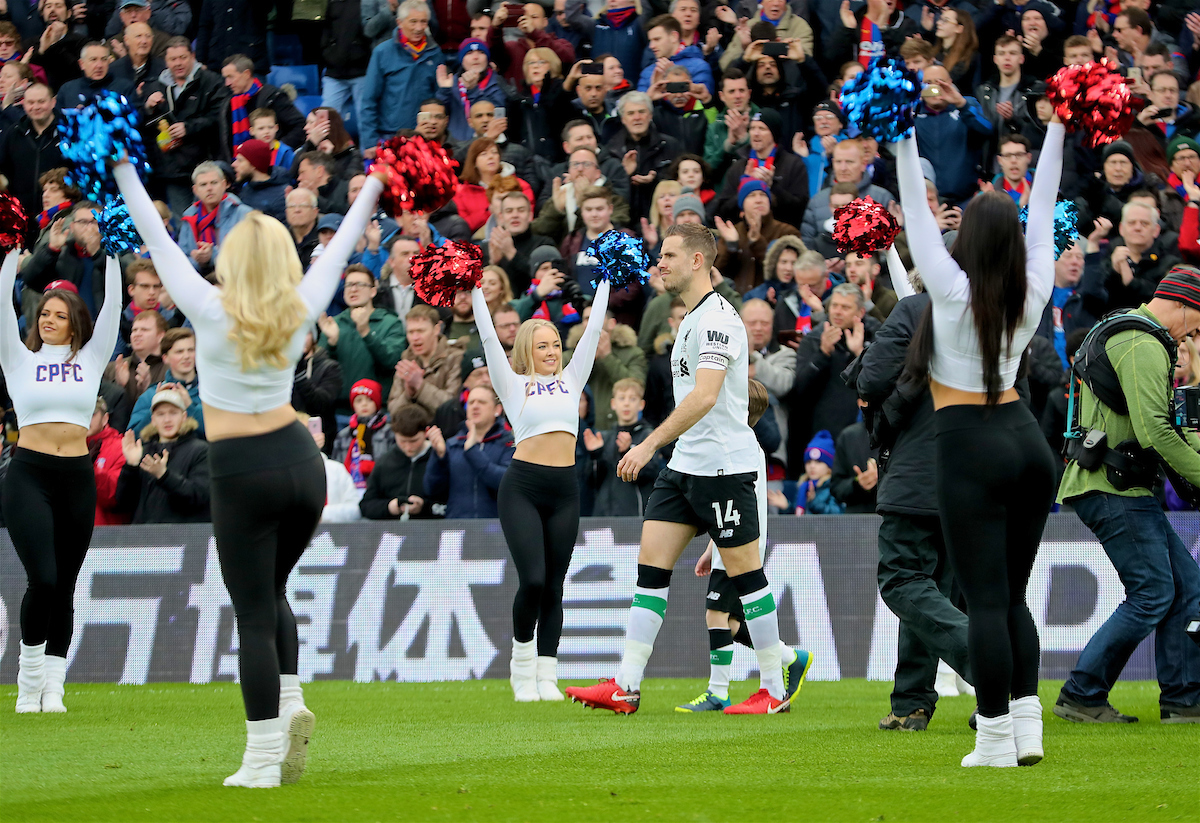 LONDON, ENGLAND - Saturday, March 31, 2018: Liverpool's captain Jordan Henderson leads his side out past the Crystals cheerleaders before the FA Premier League match between Crystal Palace FC and Liverpool FC at Selhurst Park. (Pic by Dave Shopland/Propaganda)