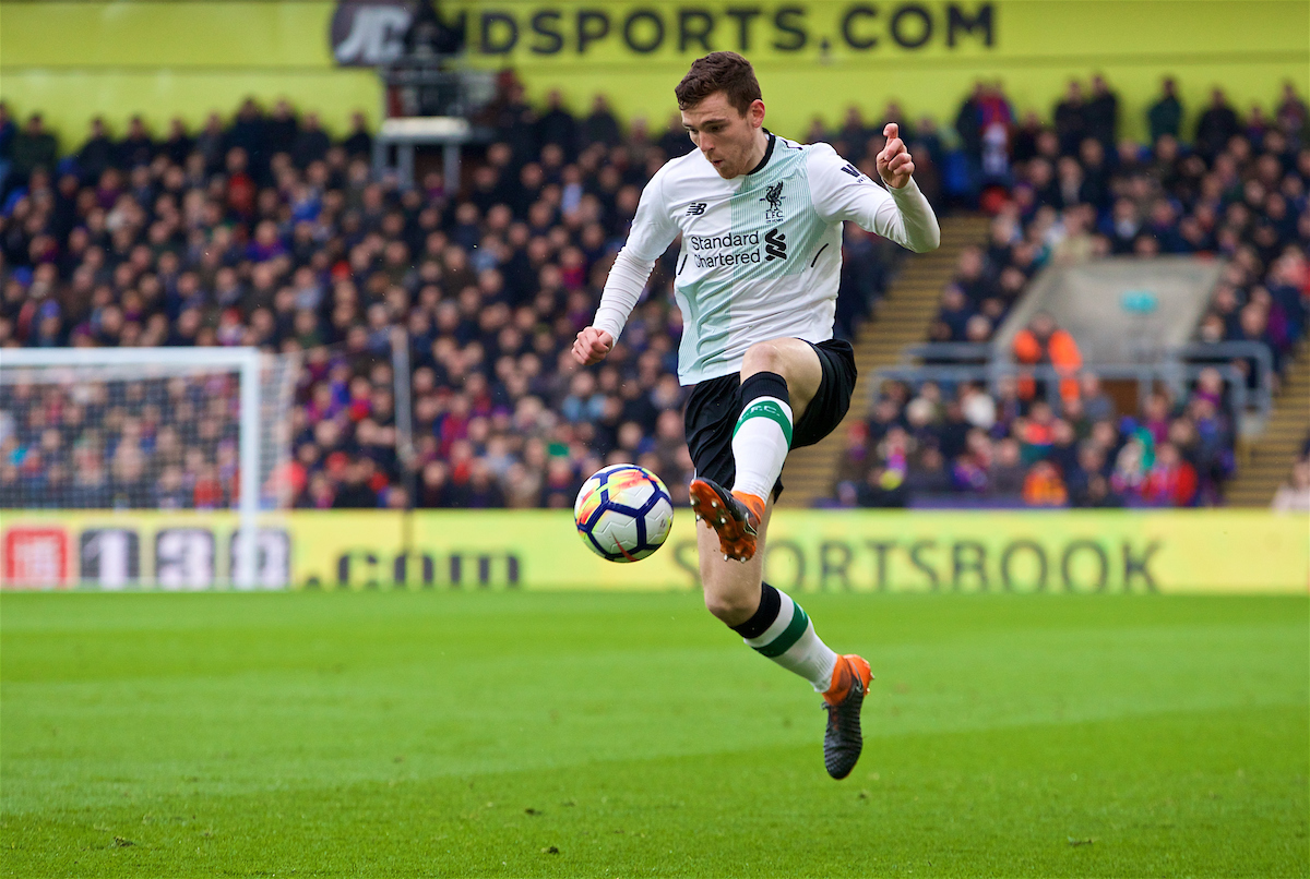 LONDON, ENGLAND - Saturday, March 31, 2018: Liverpool's Andy Robertson during the FA Premier League match between Crystal Palace FC and Liverpool FC at Selhurst Park. (Pic by Dave Shopland/Propaganda)