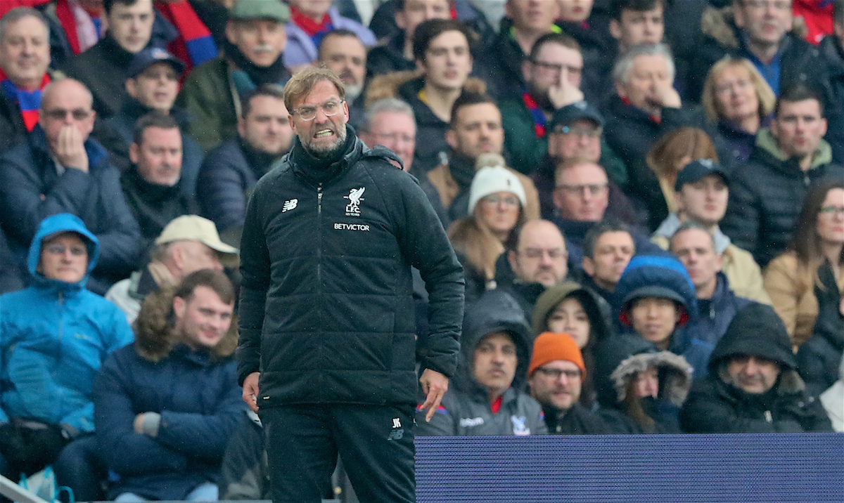 LONDON, ENGLAND - Saturday, March 31, 2018: Liverpool's manager Jürgen Klopp reacts during the FA Premier League match between Crystal Palace FC and Liverpool FC at Selhurst Park. (Pic by Dave Shopland/Propaganda)