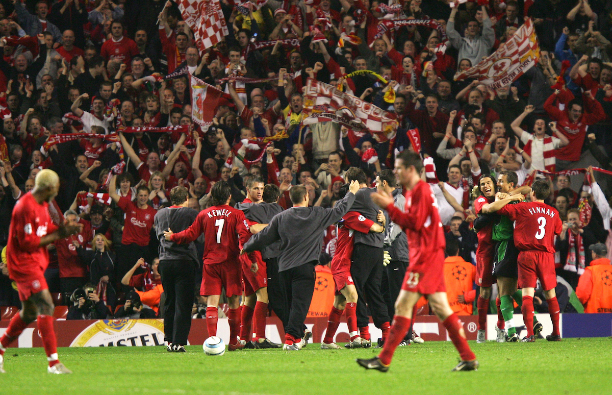 LIVERPOOL, ENGLAND. TUESDAY, MAY 3rd, 2005: Liverpool players celebrate victory 1-0 over Chelsea during the UEFA Champions League Semi Final 2nd Leg at Anfield. (Pic by David Rawcliffe/Propaganda)