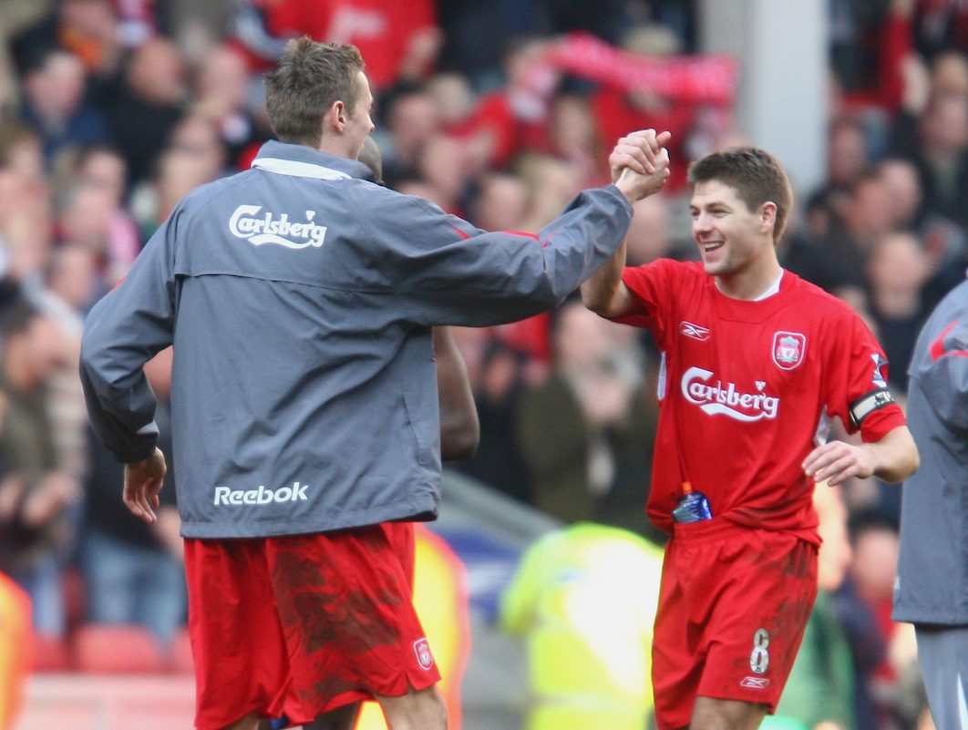 LIVERPOOL, ENGLAND - SATURDAY, FEBRUARY 18th, 2006: Liverpool's match-winner Peter Crouch celebrates his side's 1-0 victory over Manchester United with his captain Steven Gerrard during the FA Cup 5th Round match at Anfield. (Pic by David Rawcliffe/Propaganda)