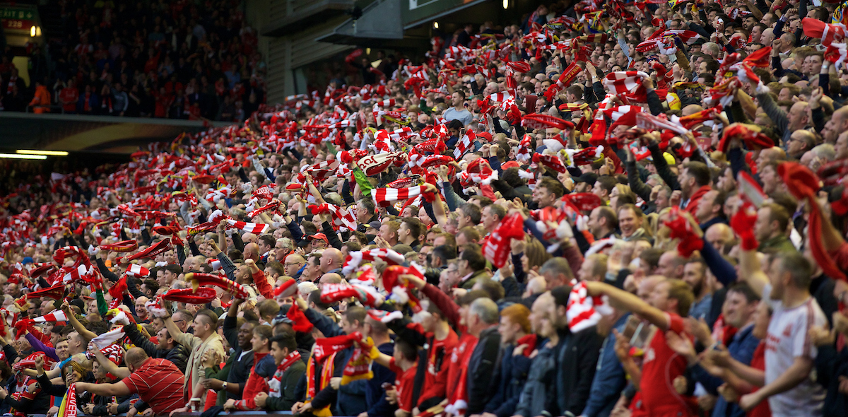 LIVERPOOL, ENGLAND - Thursday, May 5, 2016: Liverpool's supporters celebrate scoring the first goal against Villarreal during the UEFA Europa League Semi-Final 2nd Leg match at Anfield. (Pic by David Rawcliffe/Propaganda)