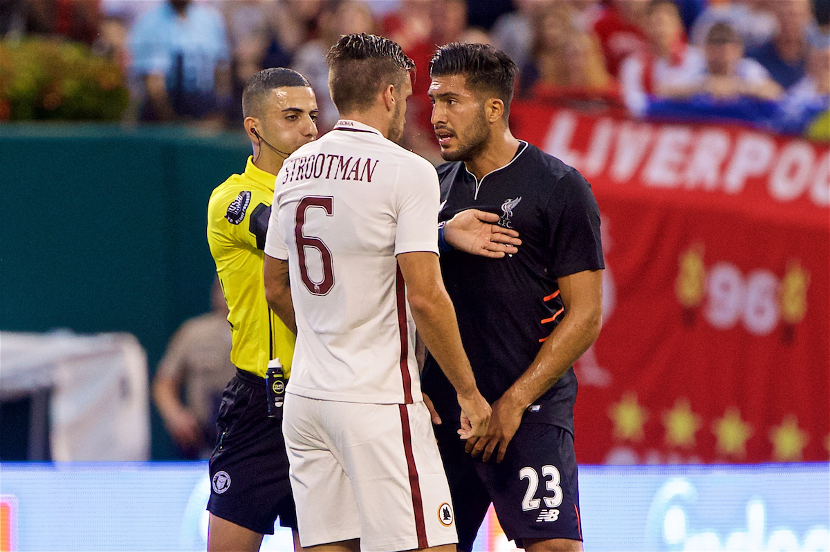 ST. LOUIS, USA - Monday, August 1, 2016: Liverpool's Emre Can clashes with AS Roma's Kevin Strootman during a pre-season friendly game on day twelve of the club's USA Pre-season Tour at the Busch Stadium. (Pic by David Rawcliffe/Propaganda)