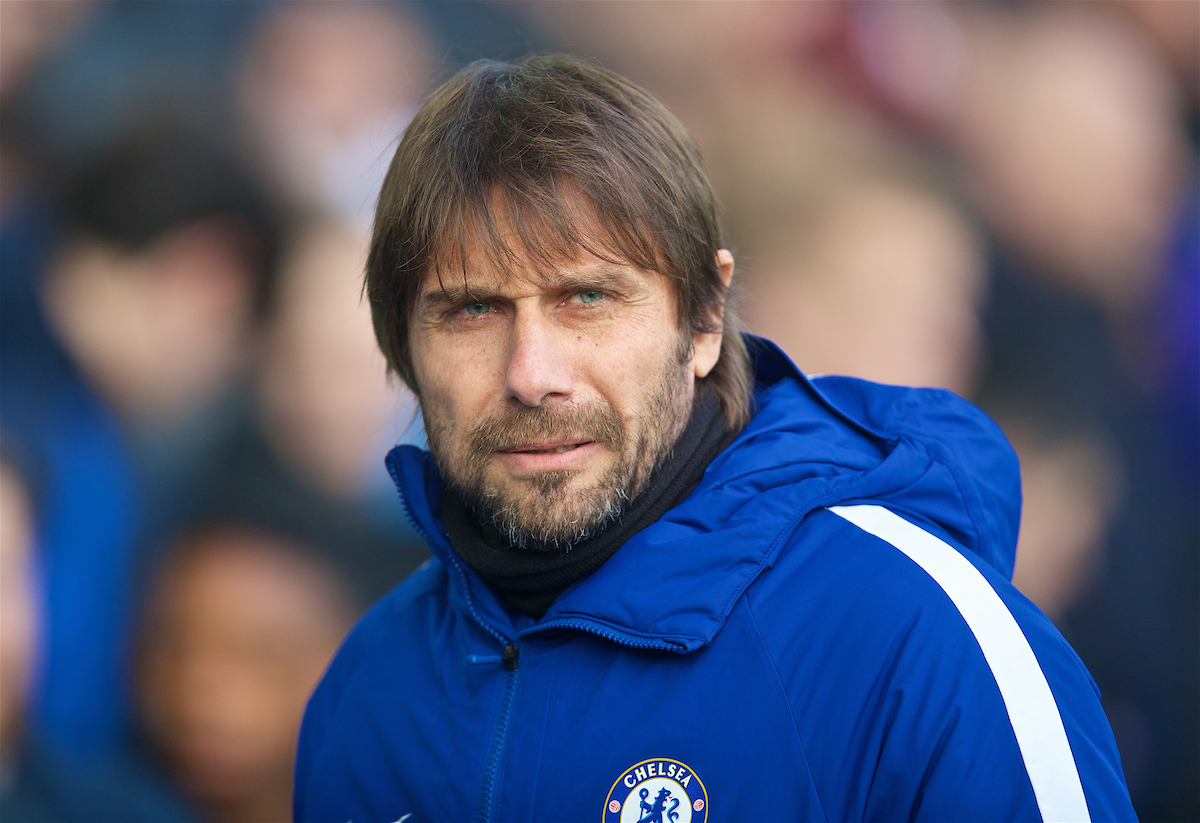 LIVERPOOL, ENGLAND - Saturday, December 23, 2017: Chelsea's manager Antonio Conte before the FA Premier League match between Everton and Chelsea at Goodison Park. (Pic by David Rawcliffe/Propaganda)
