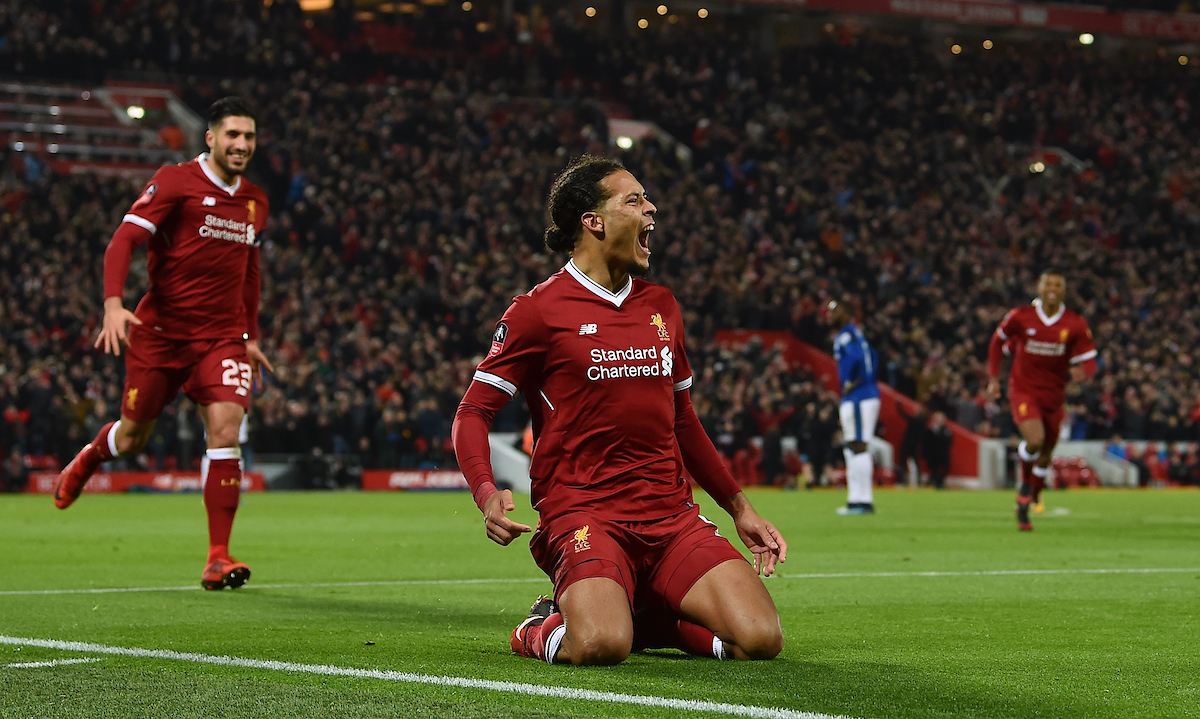LIVERPOOL, ENGLAND - Friday, January 5, 2018: Liverpool's Virgil van Dijk celebrates scoring the winning goal at the Kop end to seal a 2-1 victory over Everton on his debut during the FA Cup 3rd Round match between Liverpool FC and Everton FC, the 230th Merseyside Derby, at Anfield. (Pic by David Rawcliffe/Propaganda)