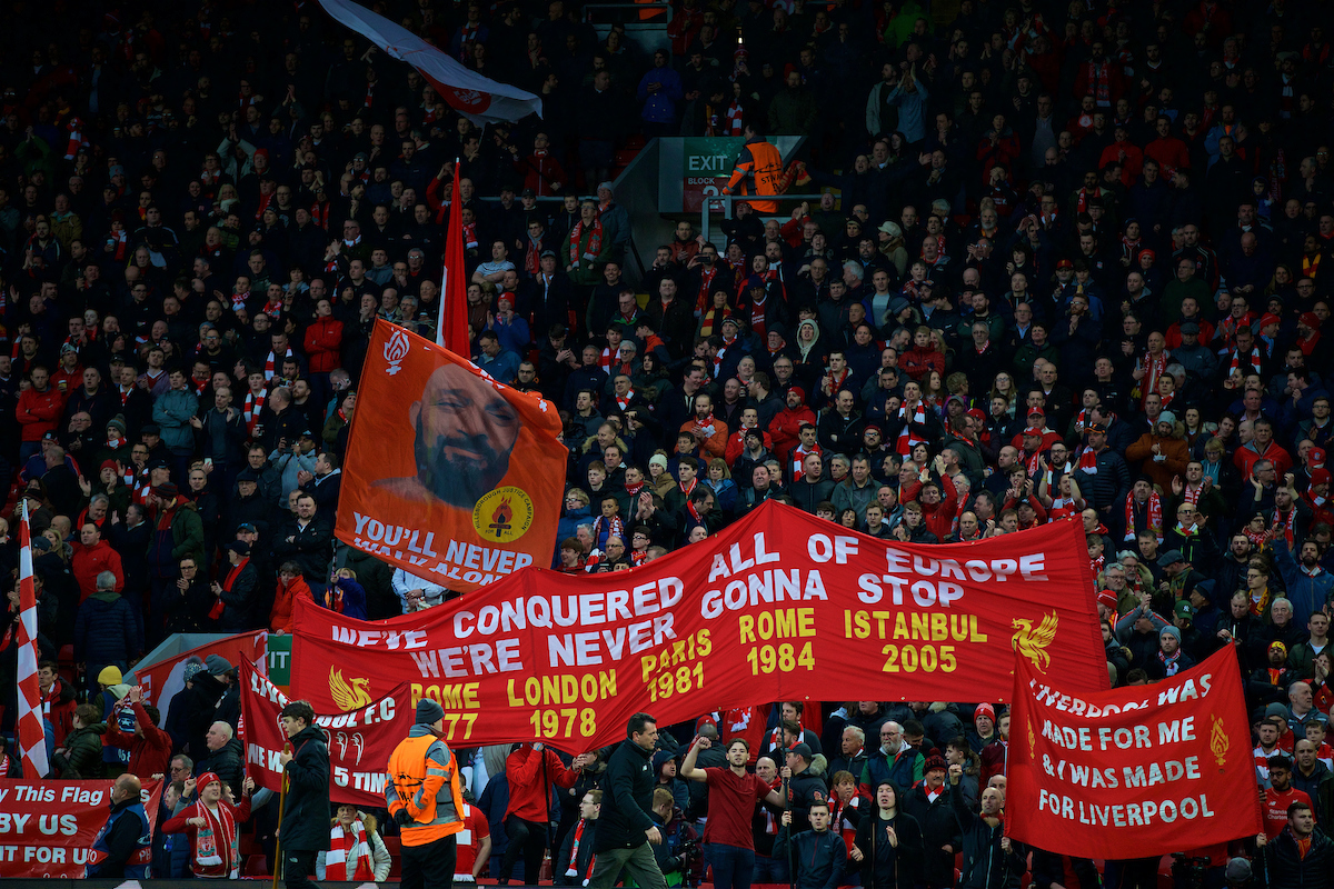 LIVERPOOL, ENGLAND - Wednesday, April 4, 2018: Liverpool supporters on the Spion Kop before the UEFA Champions League Quarter-Final 1st Leg match between Liverpool FC and Manchester City FC at Anfield. (Pic by David Rawcliffe/Propaganda)