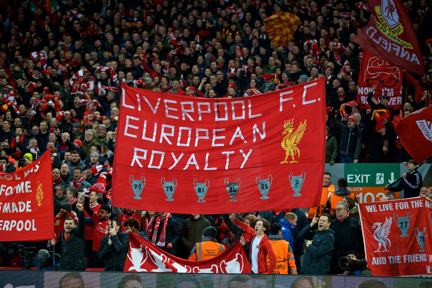 """LIVERPOOL, ENGLAND - Wednesday, April 4, 2018: Liverpool supporters' banner """"European Royalty"""" on the Spion Kop before the UEFA Champions League Quarter-Final 1st Leg match between Liverpool FC and Manchester City FC at Anfield. (Pic by David Rawcliffe/Propaganda)"""