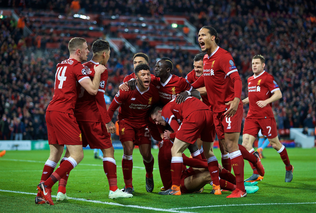 LIVERPOOL, ENGLAND - Wednesday, April 4, 2018: Liverpool's Mohamed Salah celebrates scoring the first goal with team-mates during the UEFA Champions League Quarter-Final 1st Leg match between Liverpool FC and Manchester City FC at Anfield. Alex Oxlade-Chamberlain, Sadio Mane, Virgil van Dijk, Andy Robertson, Dejan Lovren. (Pic by David Rawcliffe/Propaganda)